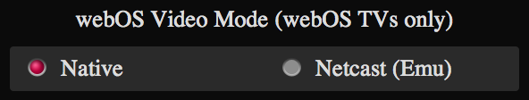 webOS Video Mode